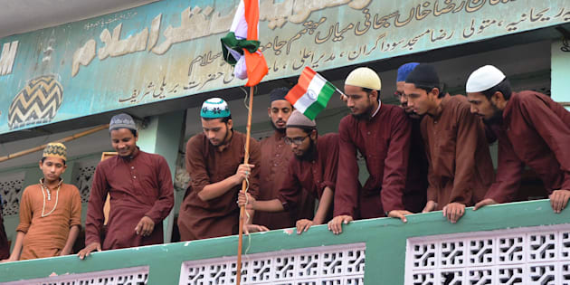 Madrasas students celebrate on the occasion of 71st Independence Day Celebrations, on August 15, 2017 in Bareilly, India.