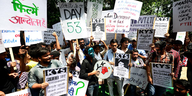 NEW DELHI, INDIA - AUGUST 3: FTII students supported by other student unions protest at Jantar Mantar against Gajendra Singh's appointment on August 3, 2015 in New Delhi, India. (Photo by Ramesh Pathania/Mint via Getty Images)