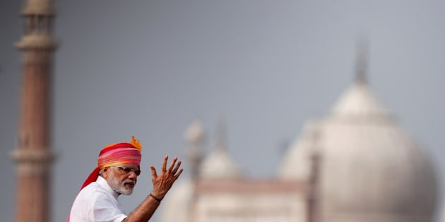 Indian Prime Minister Narendra Modi gestures as he addresses the nation from the historic Red Fort during Independence Day celebrations in Delhi, India, August 15, 2016.