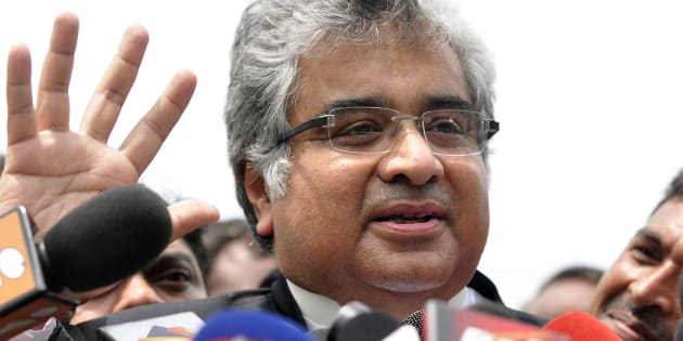 Harish Salve, council for Reliance Industries Ltd., speaks to reporters after a hearing at the Supreme Court in New Delhi, India, on Monday, July 20, 2009.