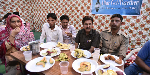 Members of the families of the Mob lynching victims during an Iftar get-together at Students Islamic Organisation of India (SIO),  on June 7, 2017 in New Delhi.
