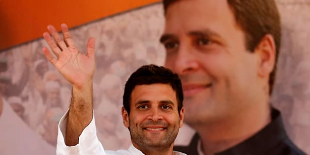Rahul Gandhi, Vice President of the Congress, waves to supporters during a rally in 2014. REUTERS/Anindito Mukherjee/File Photo