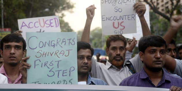 Student Islamic Organization of India protest against the encounter of eight jail break SIMI activist which SIO claims fake encounter in Kolkata.
