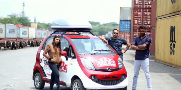 Sunaina Pamudurthy, Binoy John and Bhairav Kuttaiah with their Tata Nano Twist.