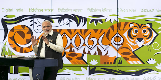 India's Prime Minister Narendra Modi speaks about India's digital initiatives at the Google campus in Mountain View, California September 27, 2015. The Indian premier continues his Silicon Valley tour on Sunday with visits to Facebook and Google Inc headquarters before an event at the San Jose Convention Center that 18,000 people are expected to attend. REUTERS/Elijah Nouvelage