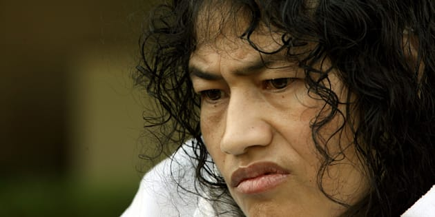 Irom Sharmila Chanu, 34, reacts during an interview with Reuters in New Delhi October 4, 2006.
