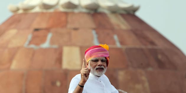Indian Prime Minister Narendra Modi delivers a speech during an Independence Day celebration at The Red Fort in New Delhi, India on August 15, 2016.