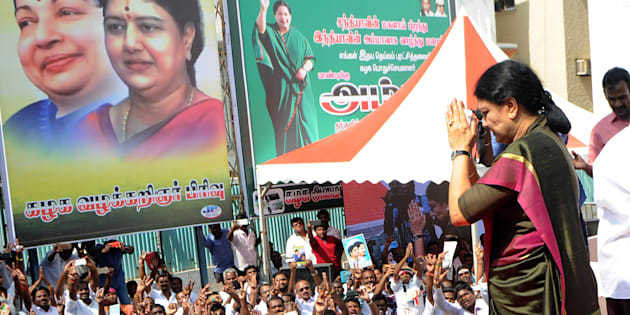 General secretary of southern Tamil Nadu state's ruling All India Anna Dravida Munnetra Kazhagam (AIADMK), VK Sasikala gestures to cadres on her arrival to take up office at the AIADMK headquarters in Chennai on December 31, 2016.   VK Sasikala was elected as the general secretary of southern Tamil Nadu state's ruling All India Anna Dravida Munnetra Kazhagam (AIADMK) after its chief, Jayalalithaa -- popularly known as 'Amma' or mother -- died aged 68 on December 5. / AFP / ARUN SANKAR        (Photo credit should read ARUN SANKAR/AFP/Getty Images)