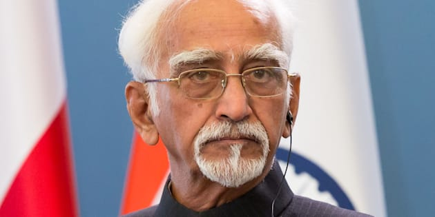 Vice President of India Mohammad Hamid Ansari during the press conference at Chancellery of the Prime Minister in Warsaw, Poland.