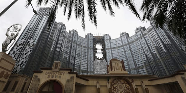 A view of Melco Crown's Studio City, complete with  a 130m high Ferris wheel  on top of the resort, in Macau, China.