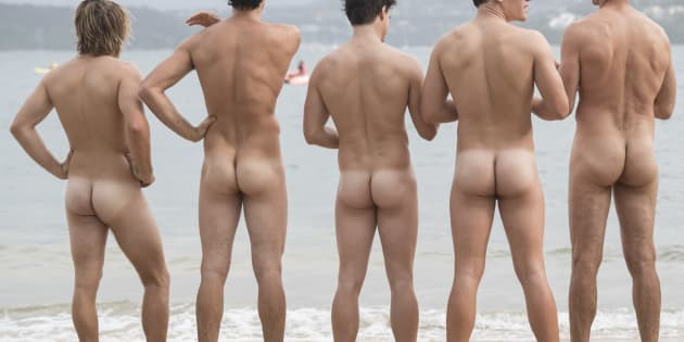Swimmers taking part in the annual nude fundraiser, The 'Sydney Skinny'.