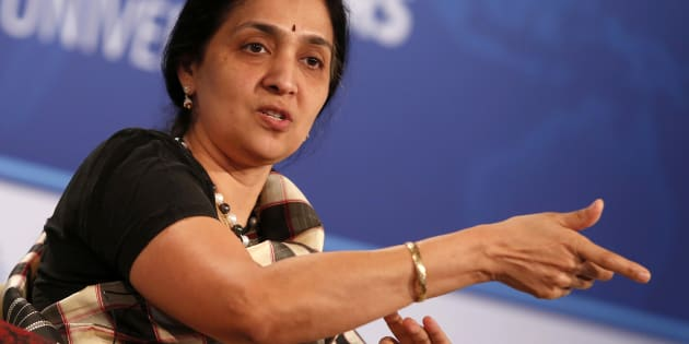 Chitra Ramkrishna, Managing Director and CEO, National Stock Exchange (India), participates in The Future of Finance panel discussion during the IMF-World Bank annual meetings in Washington October 12, 2014.