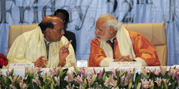 Rajnath Singh and Prime Minister Narendra Modi in Lucknow in January, 2016. (Photo by Ashok Dutta/Hindustan Times via Getty Images)