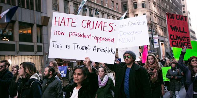 Thousands of anti-Donald Trump protesters, including many pro-immigrant groups, hold a demonstration in New York city along Union Square at 12 p.m. on Saturday, November 14, 2016. (Photo by Karla Ann Cote/NurPhoto via Getty Images)