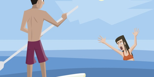 Lifeguard rescues drowning woman - colorful vector cartoon illustration.