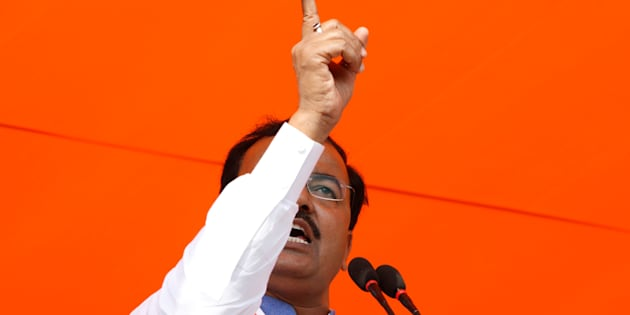 Keshav Prasad Maurya, the Uttar Pradesh state's president for the ruling Bharatiya Janata Party (BJP), gestures as he addresses an election campaign rally in Bah, in the central state of Uttar Pradesh, India, February 2, 2017.