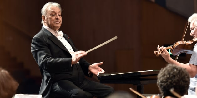 Music conductor  Zubin Mehta rehearses with the Orchestra at NCPA on April 17, 2016 in Mumbai, India.