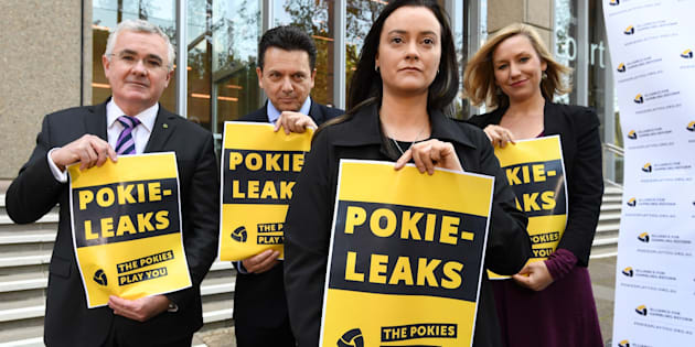 Wilkie, Xenophon, former pokie machine victim, Shonica Guy and Waters