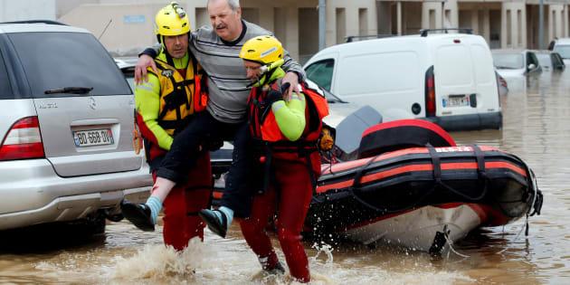 """Pourquoi """"Alerte Beauvau"""" n'a pas été déclenché pour les inondations de l'Aude, comme celles-ci prise à Trèbes le 15 octobre."""