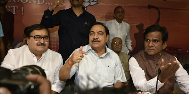 MUMBAI, INDIA - JUNE 4: Maharashtra Revenue Minister Eknath Khadse during a press conference at BJP office, where he declared that he will hand over his resignation to the CM after the press conference on June 4, 2016 in Mumbai, India. Khadse, who has been under the attack for alleged dubious land deal and suspected underworld links, on Saturday, tendered his resignation to state Chief Minister Devendra Fadnavis. (Photo by Kunal Patil/Hindustan Times via Getty Images)