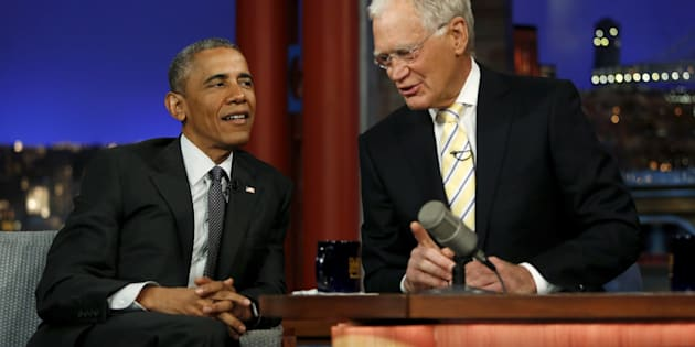 U.S. President Barack Obama tapes an appearance on the Late Show with David Letterman at the Ed Sullivan Theater in New York May 4, 2015. Obama's appearance marks his third time on the show as president and his eighth and final visit overall, as Letterman plans to retire from the show on May 20. REUTERS/Jonathan Ernst