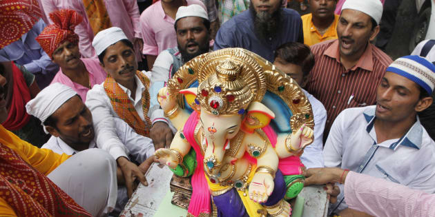 In a display of religious harmony amongst the communities, Muslim residents celebrate birthday of Lord Ganesha in Maharashtra.