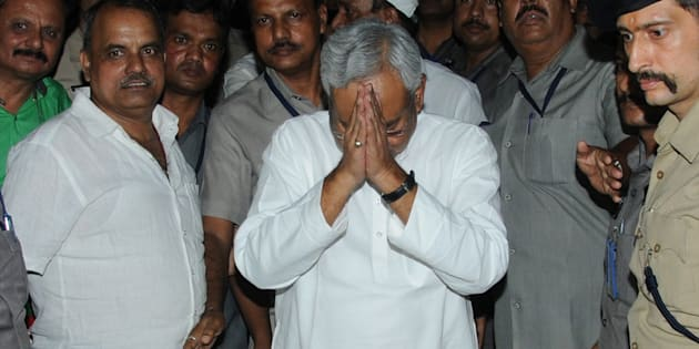 Bihar Chief Minister Nitish Kumar speaking to media after he submitted his resignation at Raj Bhawan on July 26, 2017 in Patna.