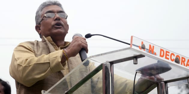 Dilip Ghosh addressing the crowd during the mega rally organized by Uthan Diwas Bengal BJP from College square to Y-channel to promote change in the incoming election at West Bengal.