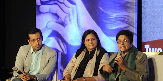 (L - R) Former Twitter Head (India) head Rishi Jaitly, Kawaljeet Singh, Kiran Bedi participating in panel discussion Battling Demons: Inner and Outer during inauguration of social TV show Code Red at Hindu College on January 13, 2015 in New Delhi, India.