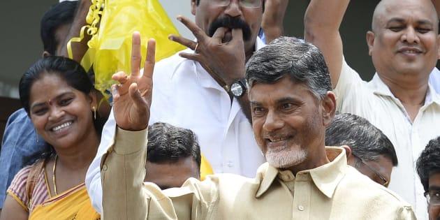 Telugu Desam Party Chief Chandrababu Naidu in Hyderabad, 2014. (Photo by Mohd Zakir/Hindustan Times via Getty Images)