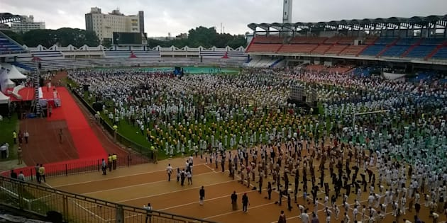 Thousands of people have taken part in Yoga day at Kanteerava Outdoor Stadium on June 21, 2015 in Bangalore, India.