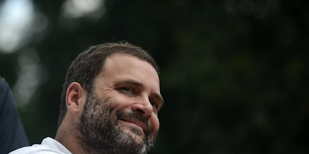 Congress vice president Rahul Gandhi smiles during a roadshow in Allahabad on September 15, 2016.
