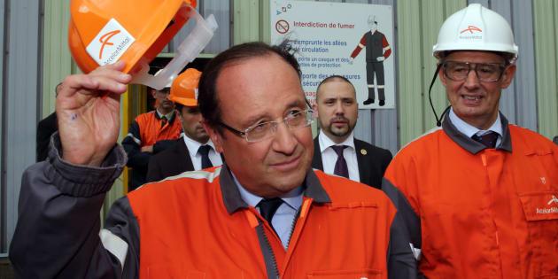 François Hollande en visite à Florange en 2013.