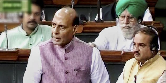 Union home minister Rajnath Singh in the Lok Sabha in New Delhi on Wednesday during the ongoing monsoon session.
