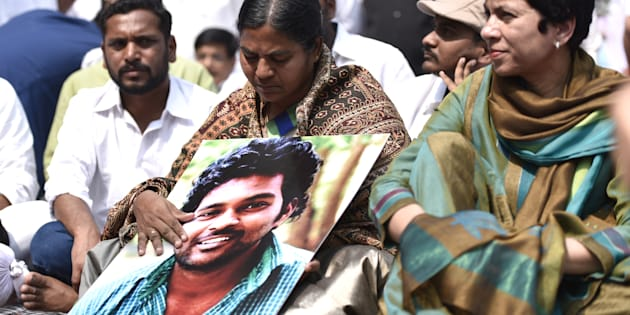 Radhika, mother of Dalit scholar Rohith Vemula, in New Delhi on 2 March 2016. (Photo by Arun Sharma/Hindustan Times via Getty Images)
