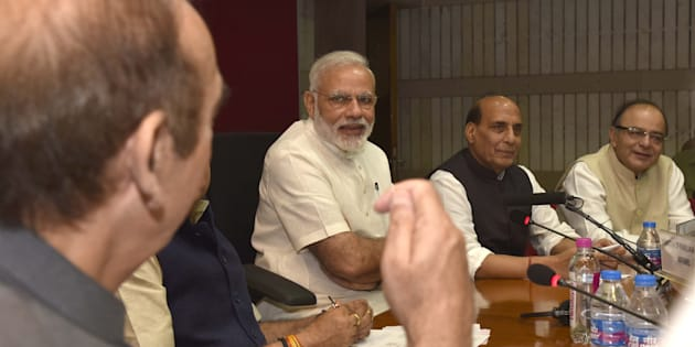 Prime Minister Narendra Modi, Home Minister Rajnath Singh, Finance Minister Arun Jaitley, Parliamentary Affairs Minister Anant Kumar, Congress leader Ghulam Nabi Azad, and other party leaders at an all-party meeting.