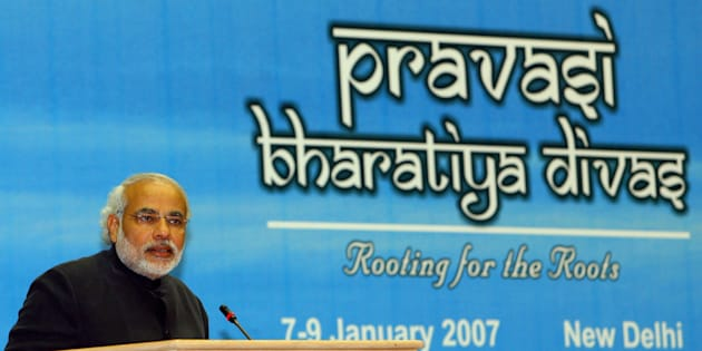 Narendra Modi addresses delegates during the second day of the Fifth 'Pravasi Bharatiya Divas' (Overseas Indian conference) in New Delhi, 08 January 2007.