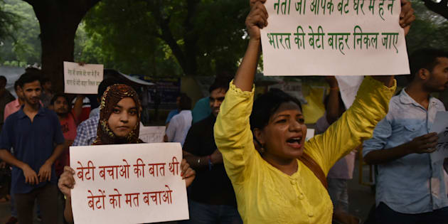 Protest march demanding the arrest of BJP Punjab head's son allegedly involved in the Chandigarh stalking case at Jantar Mantar on August 8, 2017 in New Delhi.