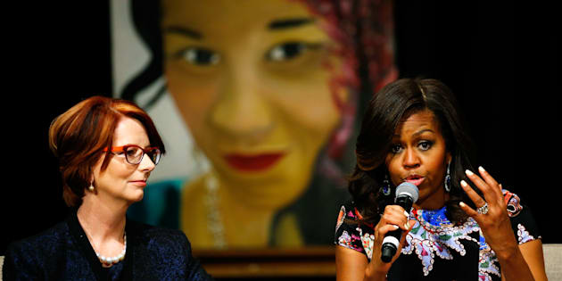 Julia Gillard with U.S. First Lady Michelle Obama
