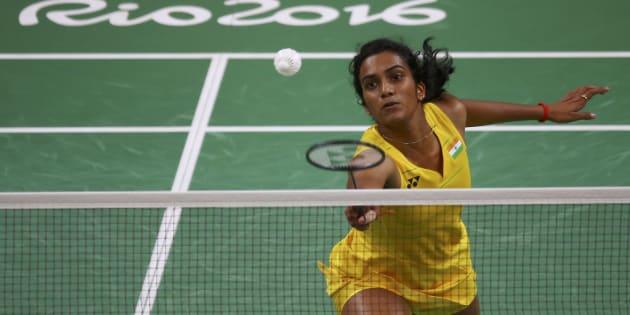 P.V. Sindhu (IND) of India plays against Wang Yihan (CHN) of China at the Rio Olympics.