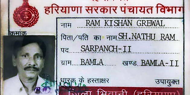 Identity card of  70-year-old ex-serviceman Ram Kishan Grewal  who allegedly committed suicide over One Rank, One Pension scheme in New Delhi.