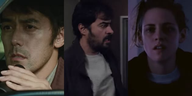 (L-R) Hiroshi Abe in 'After The Storm'; Shahab Hosseini in 'The Salesman'; and Kristen Stewart in 'Personal Shopper'.
