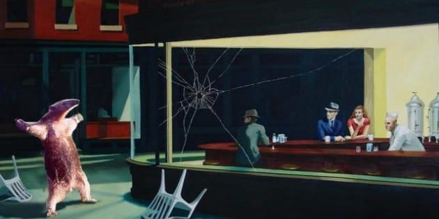 photos les noctambules c l bre tableau d 39 edward hopper symbole d tourn. Black Bedroom Furniture Sets. Home Design Ideas