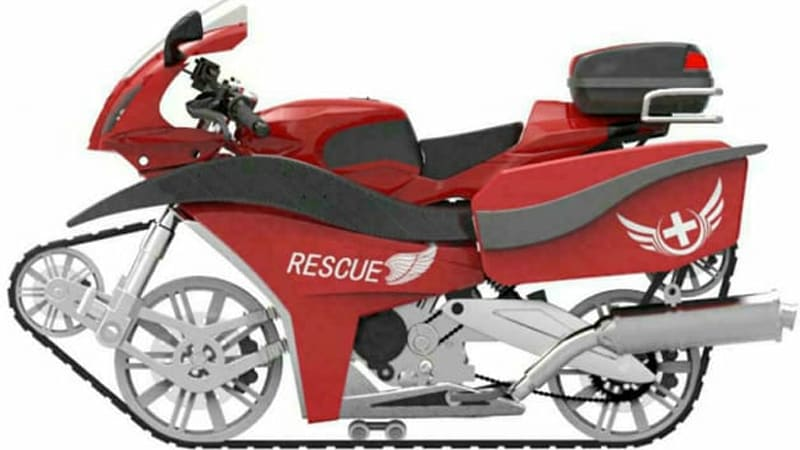 Chinese university patents crazy single-track rescue motorcycle
