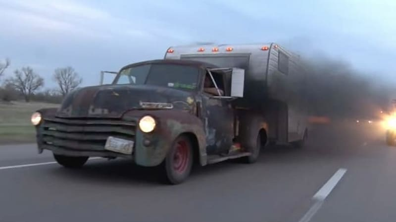 1947 Chevy rat rod pickup leaves rubber and smoke in its wake