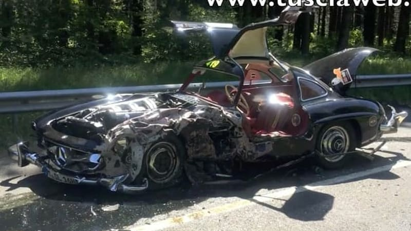 Classic Mercedes 300SL Gullwing comes to troubling end at Mille Miglia