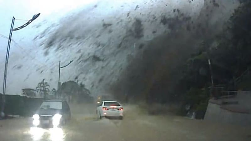 Dashcam captures Taiwanese motorist escaping mudslide, Indiana Jones-sized boulder