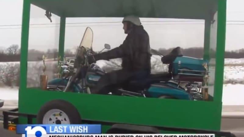 Ohio man buried astride his beloved Harley [w/video]