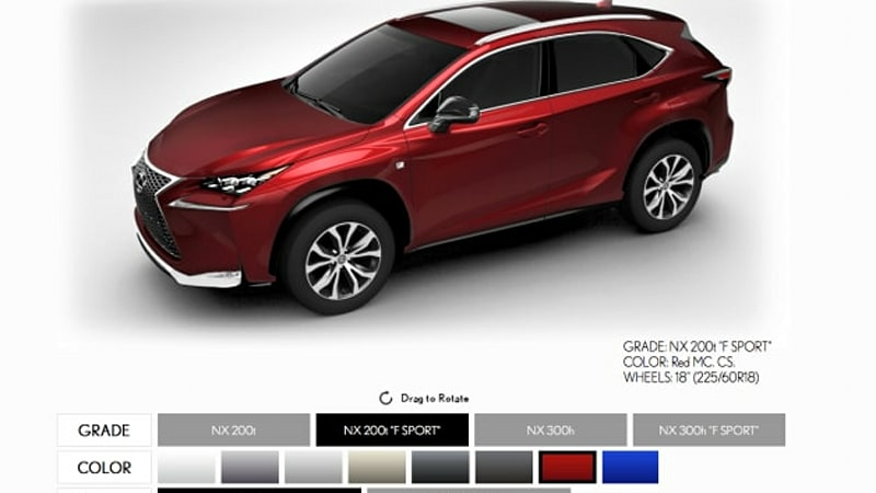 Lexus boots up early NX configurator