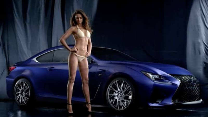 Lexus RC F and SI swimsuit model Lisalla Montenegro compare flowing lines